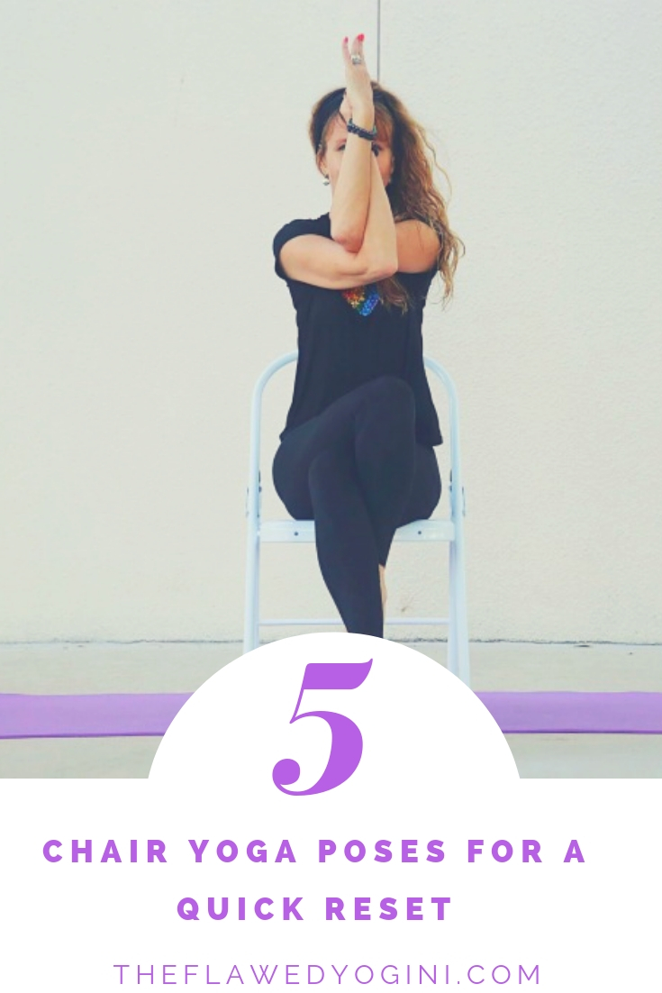 We spend so much time sitting in a chair, that it makes sense to reset right then and there, especially when we can't stand up and walk around. Here are five poses to help.  #yoga #chairyoga