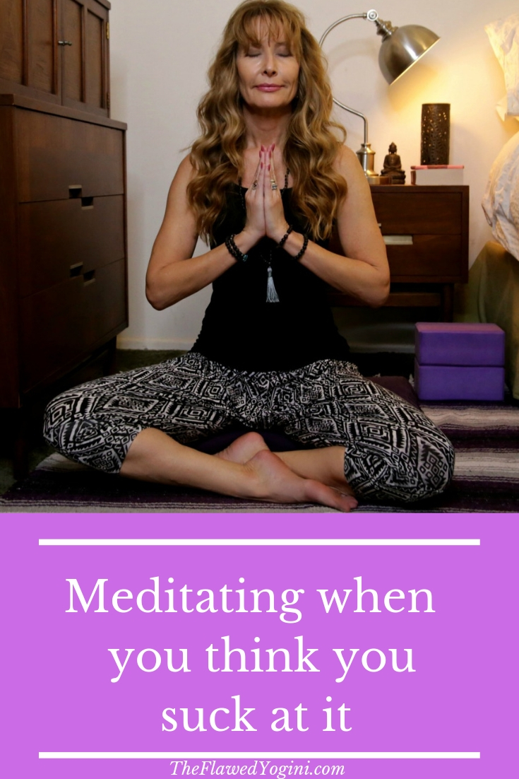 Many people believe they are not good at meditating. I was one of them! What helped me get out of that mindset was actually trying it! #meditation #meditate #yoga #destress