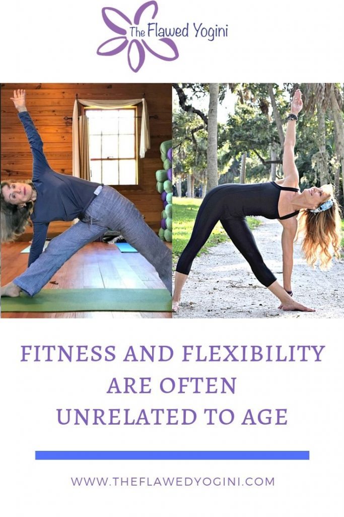 To prove that challenging oneself has nothing to do with age, I´m sharing a photo of Pauline, 81, and a photo of myself, 55, doing the same asana. #yoga #ageless #senioryoga